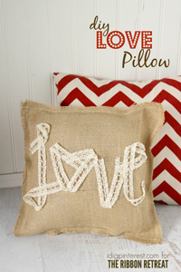 Burlap & Lace Love Pillow