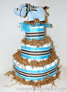 Diaper Cake with Ribbon