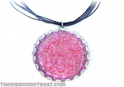 Glitter Bottle Cap Necklace