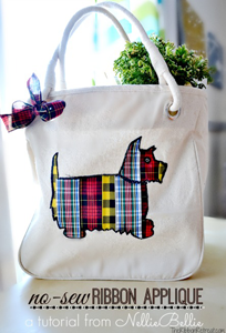 No Sew Ribbon Applique Tote Bag