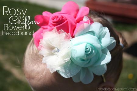 Rosy Chiffon Flower Headband