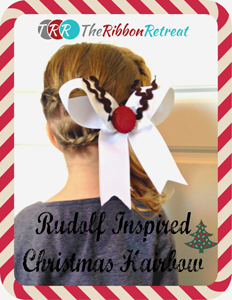 Rudolph Inspired Hair Bow