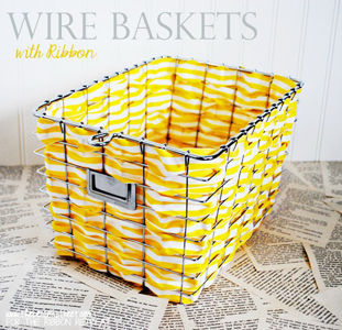Wire Baskets w/ Ribbon